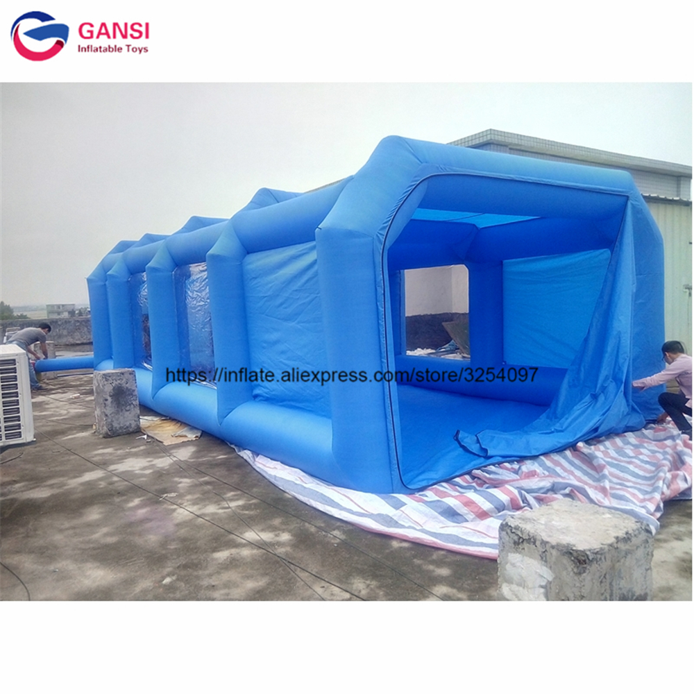 8m*4m*3m inflatable spray booth for sale blue color moving inflatable spray paint booth Oxford cloth material car painting tent