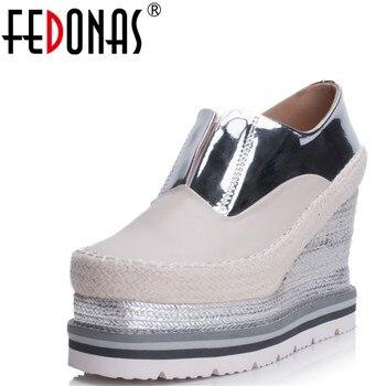 FEDONAS Brand Genuine Leather Pumps New Autumn Women Wedges Heels Platform Summer Bridal Wedding Shoes Ladies Sexy Shoes