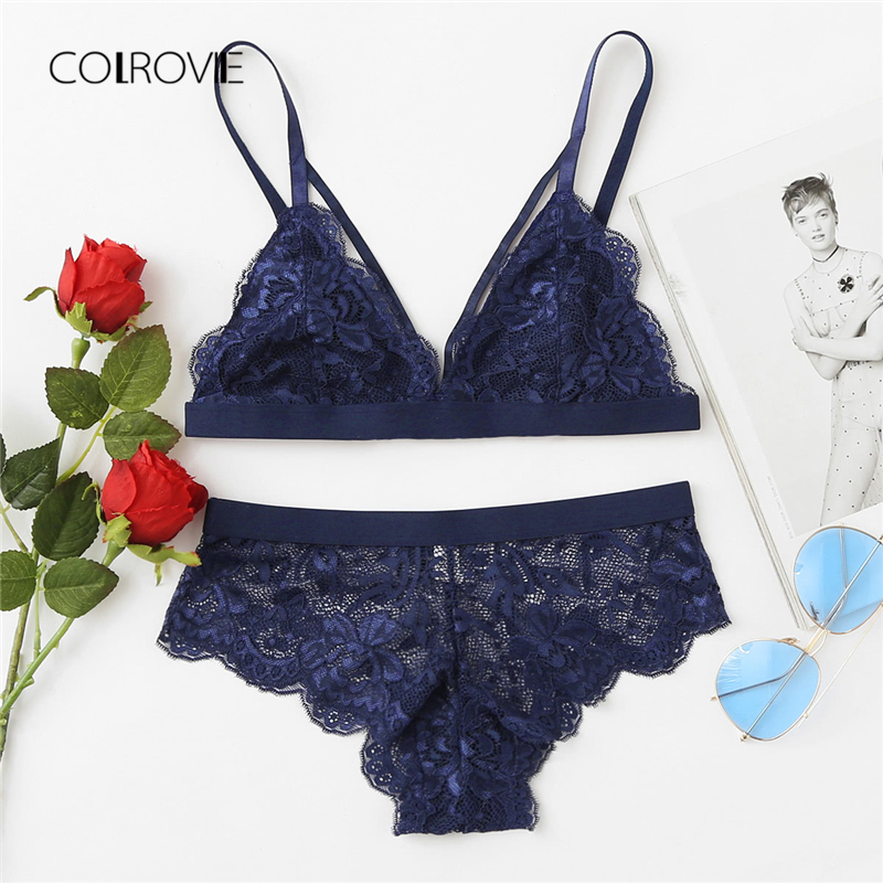 COLROVIE Scalloped Edge Harness Lace Lingerie   Set   2018 New Summer Blue Sexy Women Underwear Sheer Scallop   Bra   And   Brief     Sets