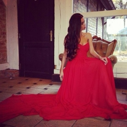 free shipping Vestido Marsala 2018 Custom Made Vestidos Sweetheart Chiffon Red Prom Gowns Couture bridesmaid dresses
