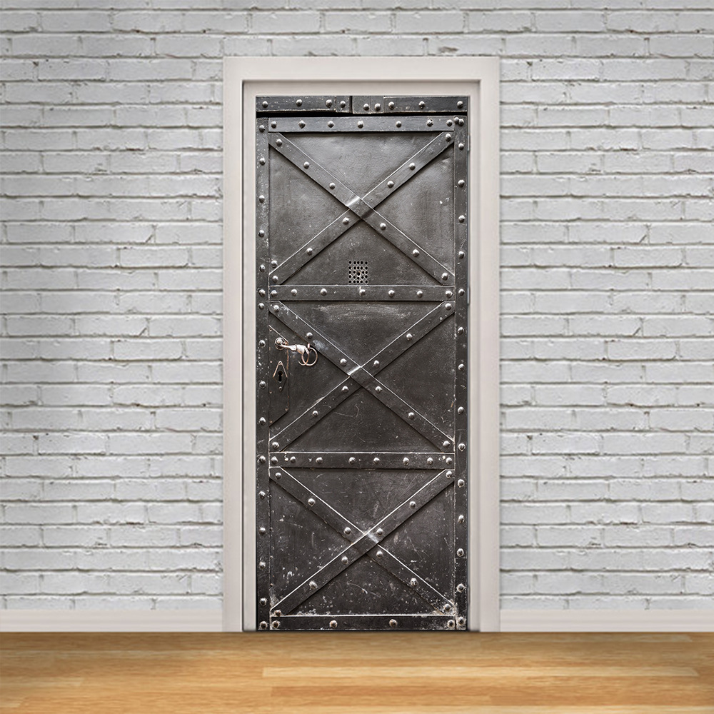 3D Door Sticker DIY Home Decor Art Mural Vinyl Wallpaper Decals Self Adhesive Iron Gate Design Wall Sticker for Door Decoration ...