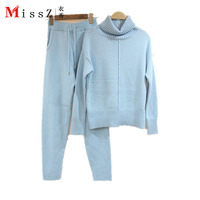 winter top quality women knitted mink cashmere suits lady turtleneck Pullover sets suit simple Pedicure female two pieces