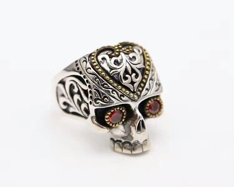 925 Sterling argent rétro Thai argent squelette anneau amour mode personnalité anneau mâle