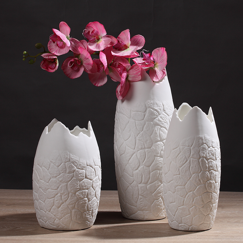 New Design Creative White Stone Pattern Flower Vase Home