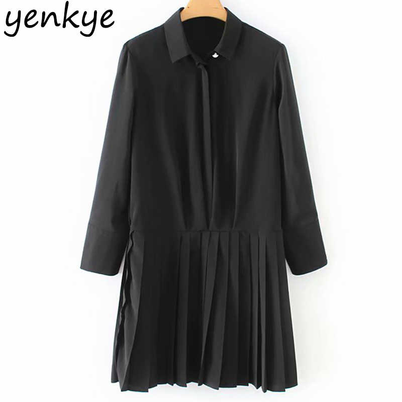 Vintage Women Solid Color Hem Pleated Dress Lady Turn-down Collar  Long Sleeve Casual Autumn Dress Mini Tunic XZWM18159