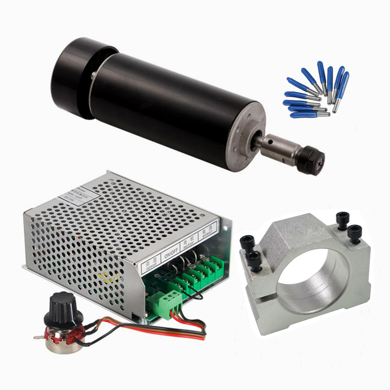 DC 500W CNC Spindle Air Cooled Mach3 Power Supply Governor 52MM Clamp ER11 Collet 3.175mm CNC Machine Parts dc cnc spindle brushless 400w air cooled spindle motor switching power supply motor driver for cnc machine