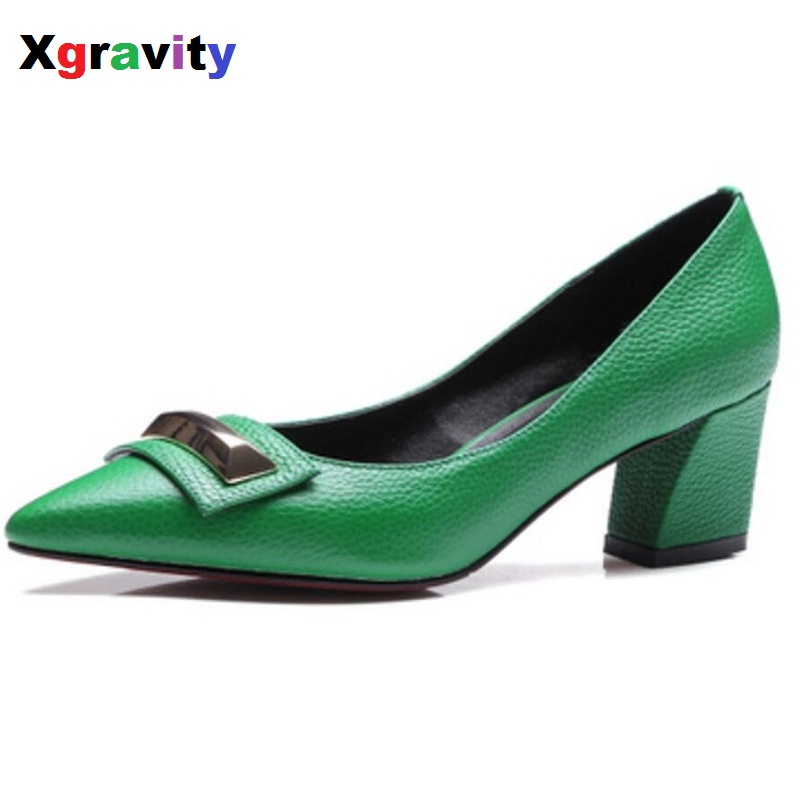 Hot 2018 Autumn Genuine Leather Fashion Pointed Toe Dress Shoes Elegant Woman High Heels OL Lady Heel Pumps Sexy Women Shoe C079