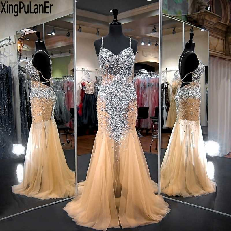 480281ba5a ... XingPuLanEr Long Prom Dresses 2018 Gorgeous Mermaid Sweetheart Beaded  Crystals Floor Length Champagne Prom Dress Party ...