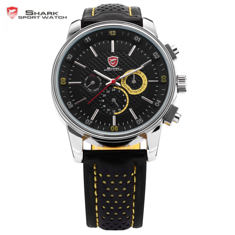 ФОТО New SHARK Sport Watch 6 Hands Date Day Display Stainless Steel Black Yellow Genuine Leather Strap Analog Men's Relogio / SH095