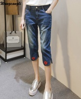 Wangcangli Women Knee Length Pants Zipper Nine Points Straight Jeans Fashion Jeans Blue Pants Red Lip
