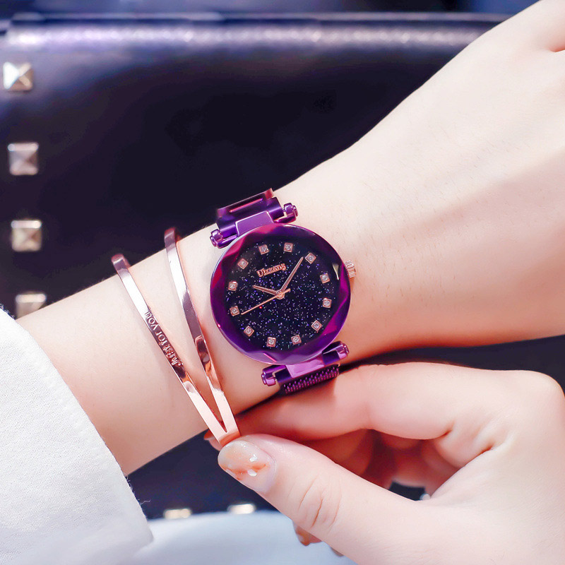 Fashion Women Watch Purple Stylish Rhinestone Mesh Belt Lady Wristwatch Magnet Buckle 2018 Casual Business Female Quartz Watch