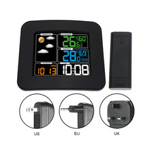 Digital Color Wireless Weather Station with Clear LCD Humidity Dual Alarms Thermometer ALI88