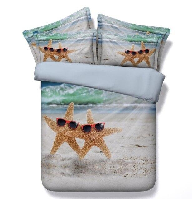 Sandy Beach Comforter Sets Starfish Bedding Queen Twin Size Quilt Doona Duvet Cover Bedspread Bed