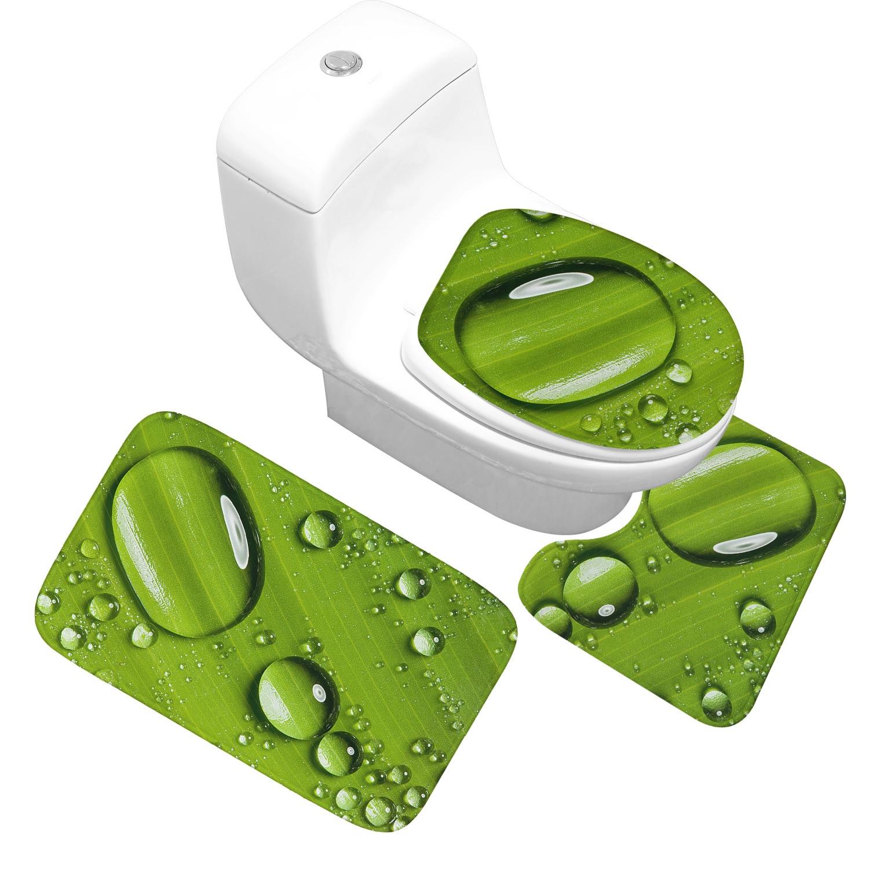 Waterdrops and Green Leaf Bathroom Toilet Mats 3 Piece Bath Rug Set Thick Absorbent Non-slip Bath Carpet Bathroom Doormat