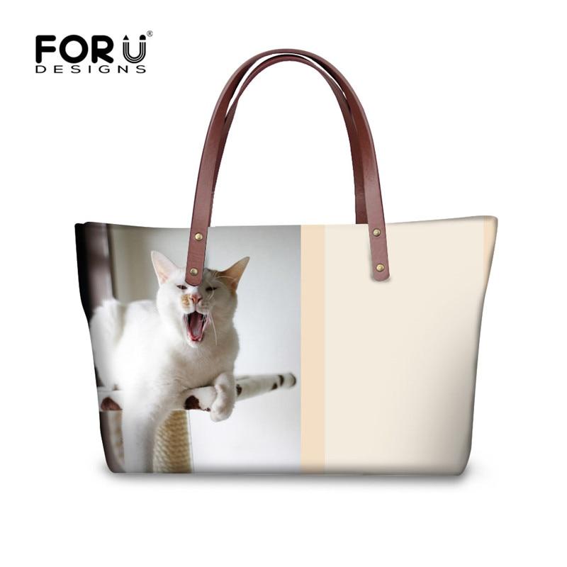 FORUDESIGNS Fashion Women Tote Crossbody Bag Animal Cat Pattern Messenger Bags for Ladies Brand Designer Large Shoulder Shop Bag