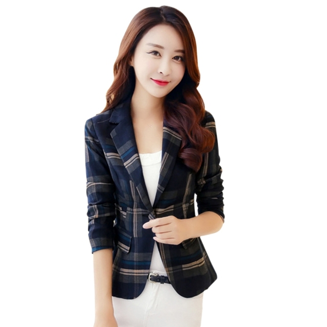 Women Blue Red Plaid Blazer...