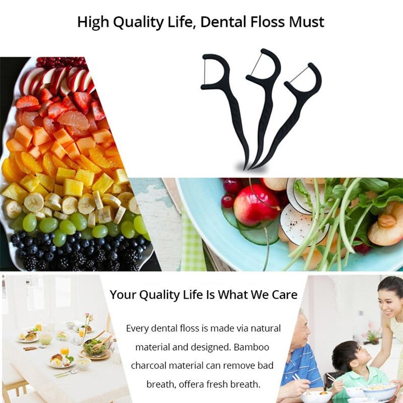 PJKQ001 зубная нить с активированным древесным углем 50 ⑤ кор. инструмент для гигиены полости рта ежедневное использование зубная нить