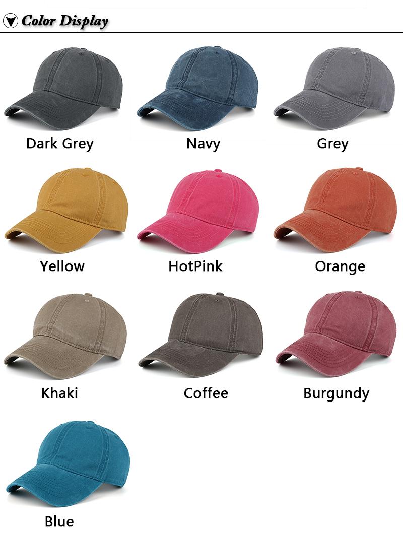 Pre-washed Cotton Denim Baseball Cap - Ten Available Colors