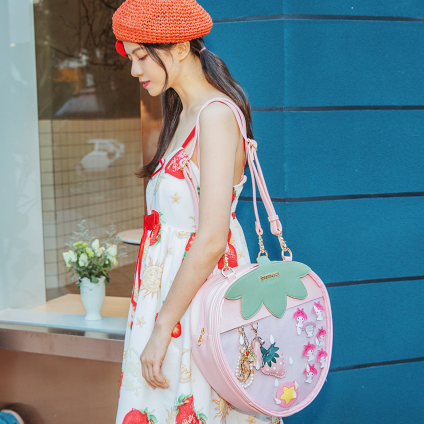 Clear Transparent Pvc Strawberry Shoulder Bags Lolita Women Jelly Bags Itbag Fashion Large capacity Handbags Party