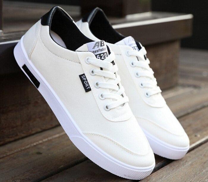 2017 Canvas Shoes White New Walking Shoes Men Lace Up Canvas Shoes For Men Fashion Breathable ...