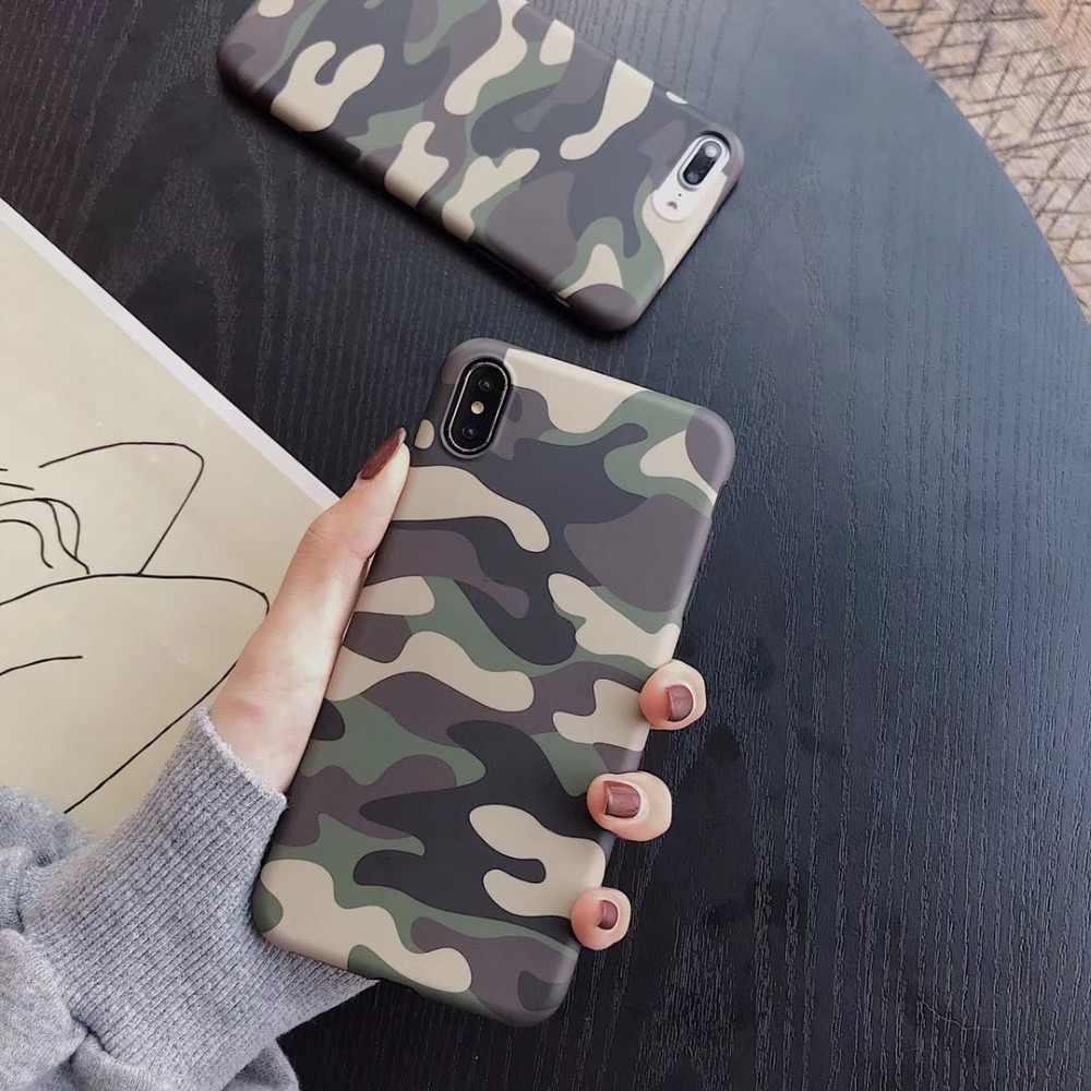 جديد التمويه الكلاسيكية لينة السيليكون غطاء حالة ل apple iphone 6 6 S زائد 7 7 زائد 8 8 زائد X XR XS ماكس العسكرية كامو الهاتف كوكه