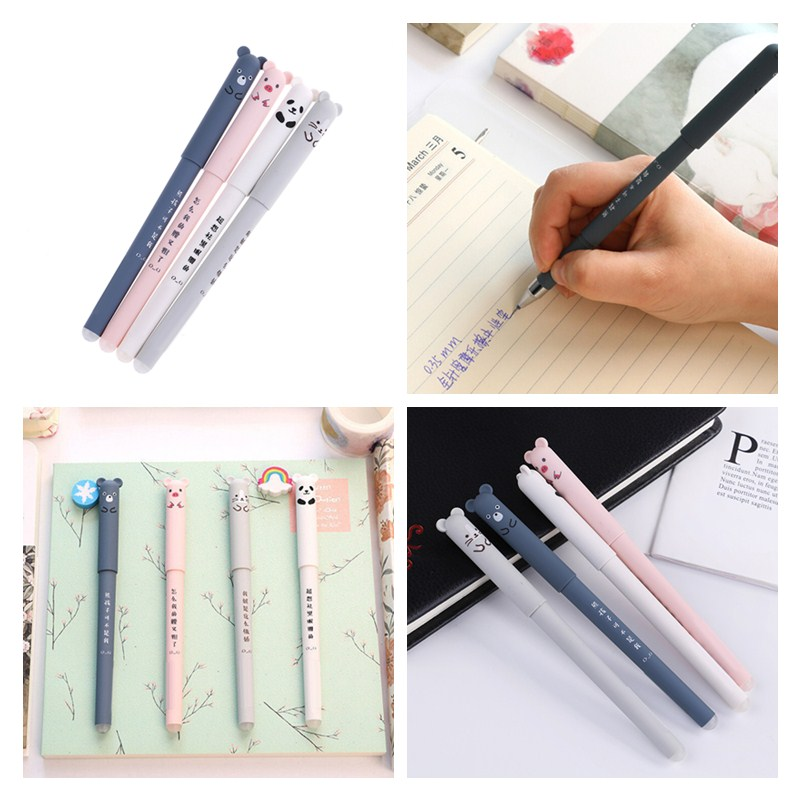 Pens, Pencils & Writing Supplies Peerless 2/4pcs Student Erasable Pen Lovely Cat Panda Bear Gel Pen 0.35mm Full Needle Blue Black Ink Pen School Office Supplies Office & School Supplies