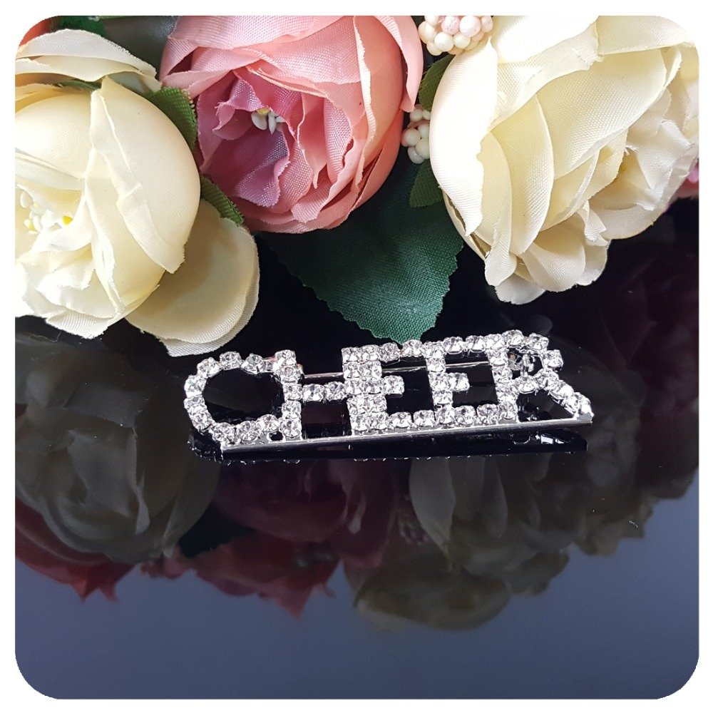 Shining Silver Clear Rhinestones quot CHEER quot Word Brooch Pin for Celebrated Day Campaign in Brooches from Jewelry amp Accessories