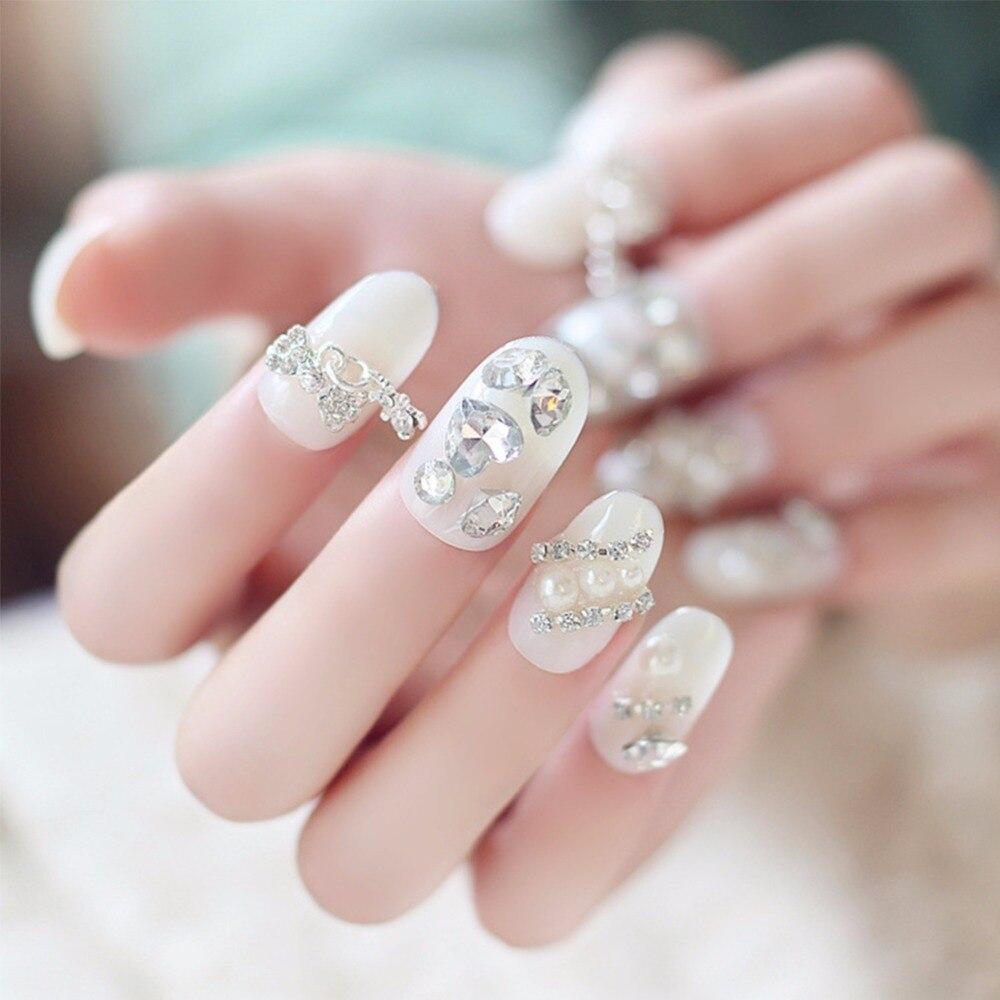 24pcs/Set Pretty Wedding Bride Nail Art Tips Full Diamond Round Head ...