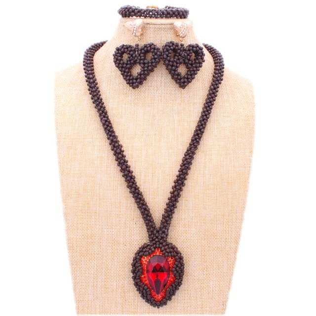 Fashion 2018 Jewelry Set Red Big Rhinestone African Beads Jewelry Sets Nigerian Necklace Jewelry Set For Women Free Shipping New