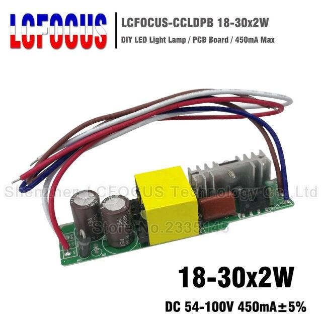 2 piezas 18-30x2W Controlador LED 450mA 54-100 V 36 V 40 48 54 60 W Watt iluminación transformadores para 36 W 40 W 48 W 54 W 60 W Luz de Panel