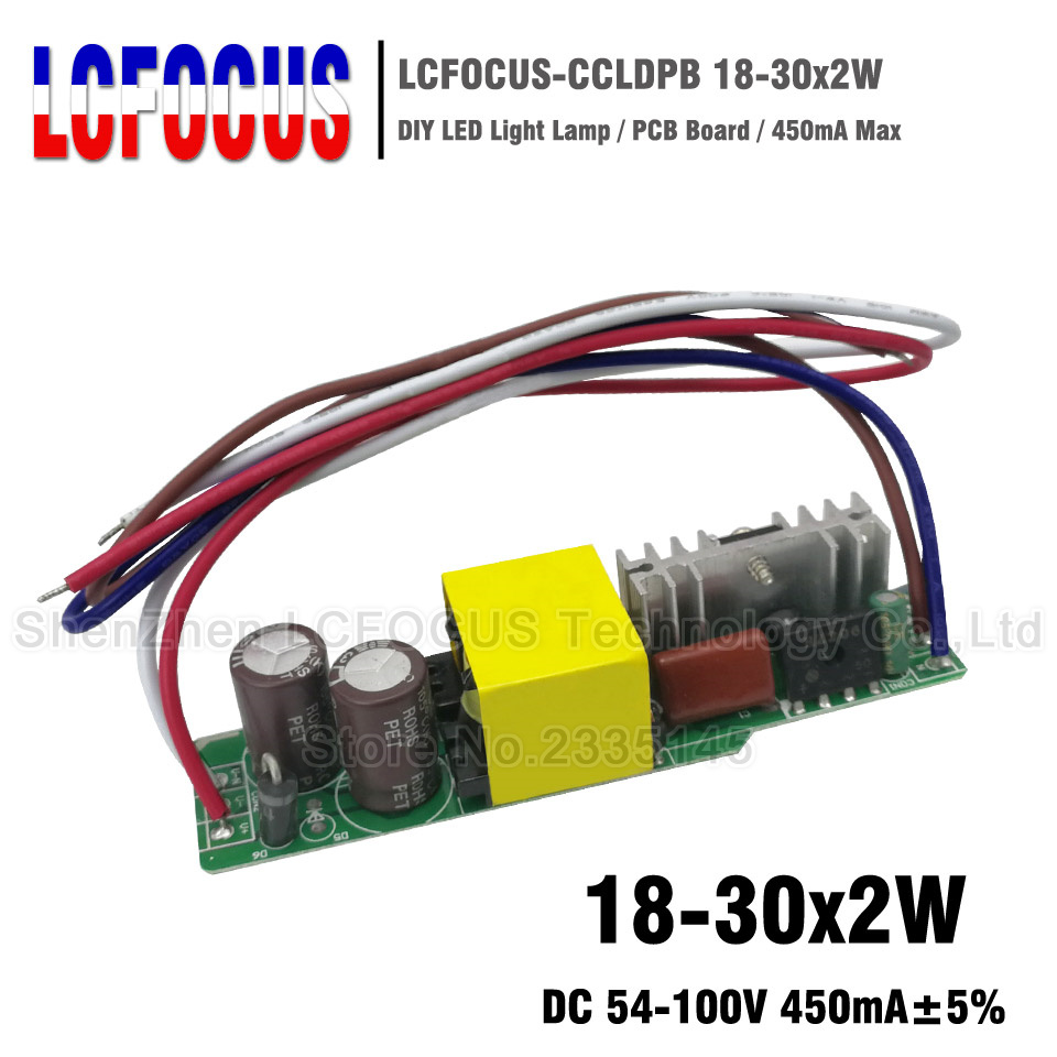 2 stücke 18-30x2W Led-treiber 450mA 54-100 V 36 40 48 54 60 watt Watt Beleuchtung Transformatoren Für 36 watt 40 watt 48 watt 54 watt 60 watt Flache Panel Licht