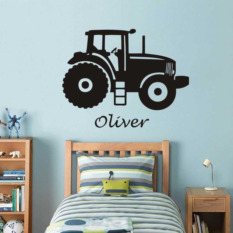 Personalized Name Art Vinyl Wall Sticker For Kids Room Tractor Custom Name Removeable Decal Bedroom Nursery Decor Poster J39