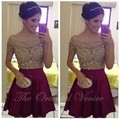 Burgundy Off the Shoulder Short Homecoming Dresses Short Sleeve Sheer Nude Crystal Robe de Cocktail Dress 8th Grade Prom Dresses