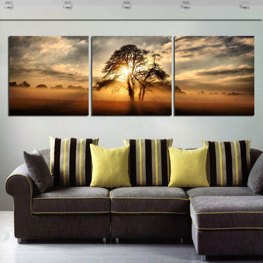 Modern Painting Landscape Art Oil Painting Paint On Canvas Morning Misty Fields Scenery Wall Pictures For Drawing Room No Frame
