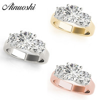 AINUOSHI 925 Sterling Silver White Gold Yellow Gold Rose Gold Color Rings Three Stones Rings Round Cut Bridal Party Jewelry Gift