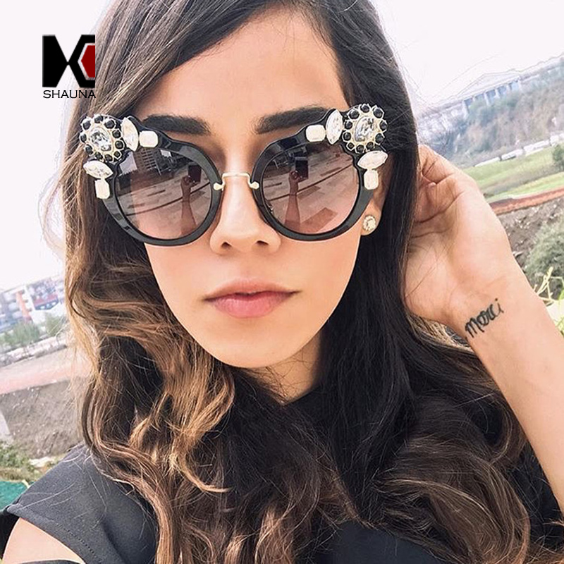 SHAUNA Luxury Crystal Decoration Women Cateye Sunglasses Brand Designer Fashion Ladies Gradient Glasses