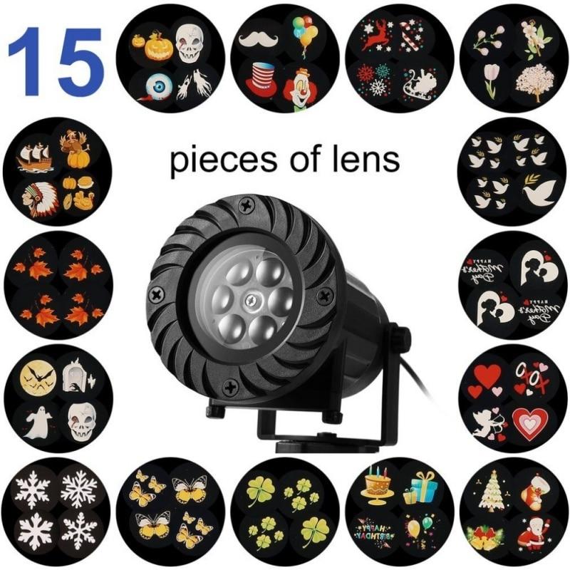 15 Pattern Spotlight Waterproof Lights for Halloween Garden Yard Decor Christmas LED Landscape Light Rotating Projector