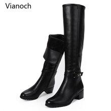 Fashion New Winter Knee Length Boots Women Warm Fur Shoes Zip Up Shoe Heels Woman Snow Boots Black Size 40 41 5cm wo1808134