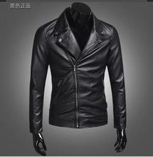 M-4XL!!Spring and autumn male leather clothing  slim PU  jacket leather motorcycle short design men's clothing outerwear