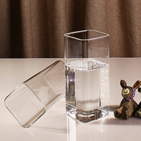 400ml*2 pieces Household Glass square transparent water cups heat resistant thickened glass tea cups milk fruit juice beer cups