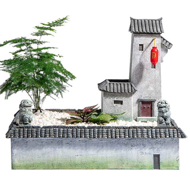 Resin Flower Pot Planter Retro Japanese Style Chinese Zen Antique Home Architecture  Garden Bonsai  Pot Wall Mountable with LED