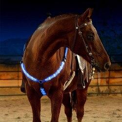 Diodo emissor de luz do chicote de fios de cavalo peitoral correia de náilon noite visível equipamento de equitação paardensport corrida cheval equação