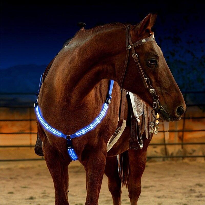 LED סוס לרתום החושן ניילון חגורה הלילה גלוי סוס רכיבה ציוד Paardensport מירוץ Cheval Equitation