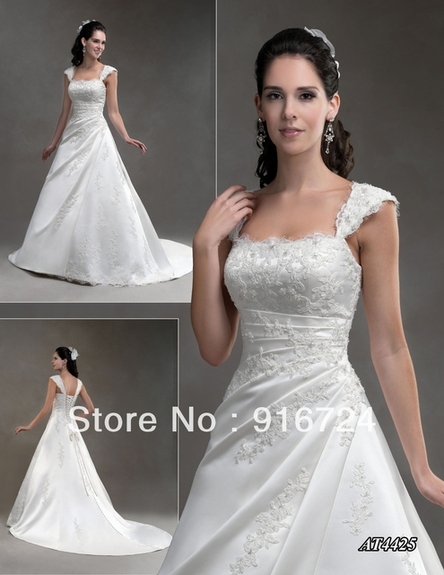 New Arrival Fashion Satin A-line wide Straps Appliques Floor-Length Chapel Train  Wedding dress