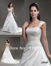 Новое поступление мода сатинировки платье-линии широкими лямками аппликации пола — часовня поезд свадебное платье