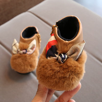 2018 Winter Newest Girls Princess Shoes Cotton Padded 0 1 Year Old Cowhide Rabbit Hair Bow
