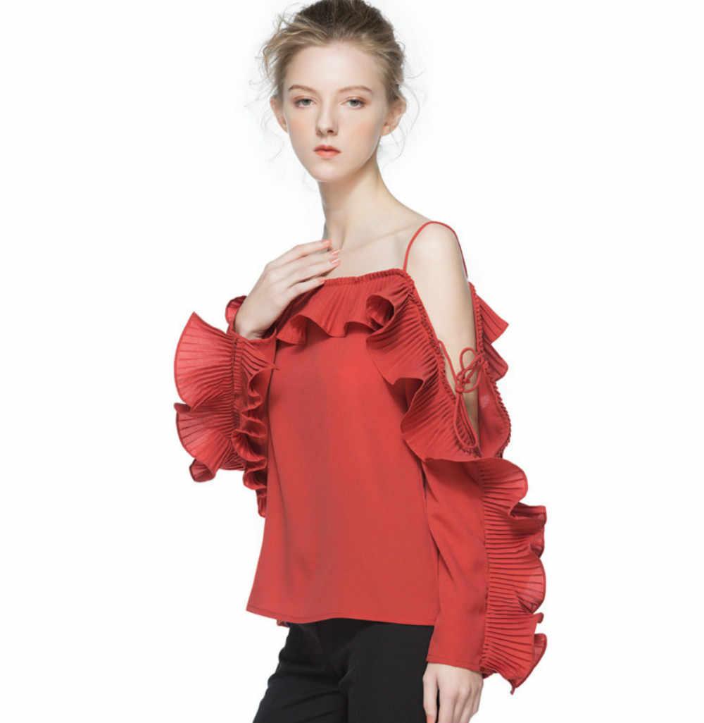 Новый Для женщин шифон Блузки для малышек пикантные вечерние оборками Лепесток рукавом красный, черный и белый 2018 летние женские Рубашки для мальчиков одноцветное Топы корректирующие высокое качество