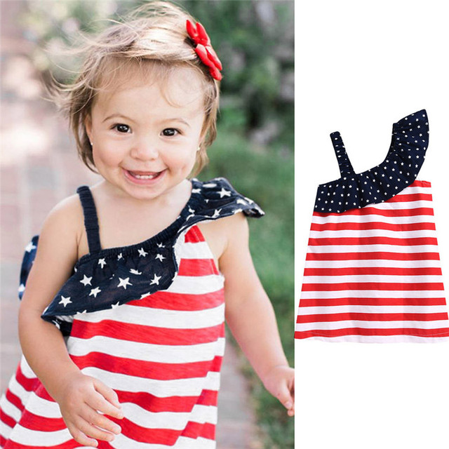 Baby Girls Infant Kids 4th Of July Star Dress Clothes Sundress Casual Sets T#