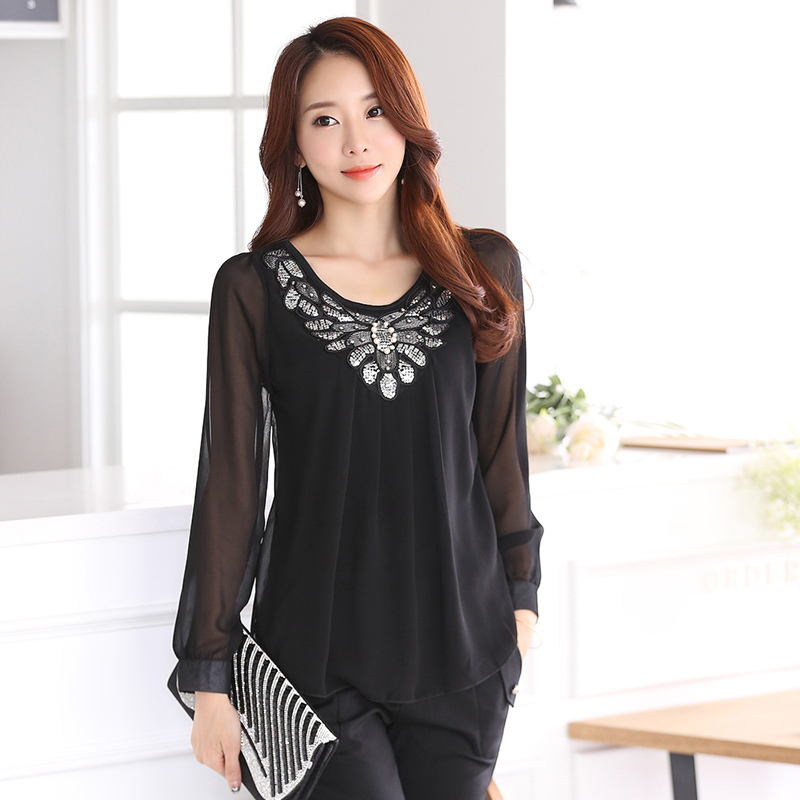 New spring and summer women's lace sequins long-sleeved shirt fashion casual chiffon shirt office ladies solid color shirt