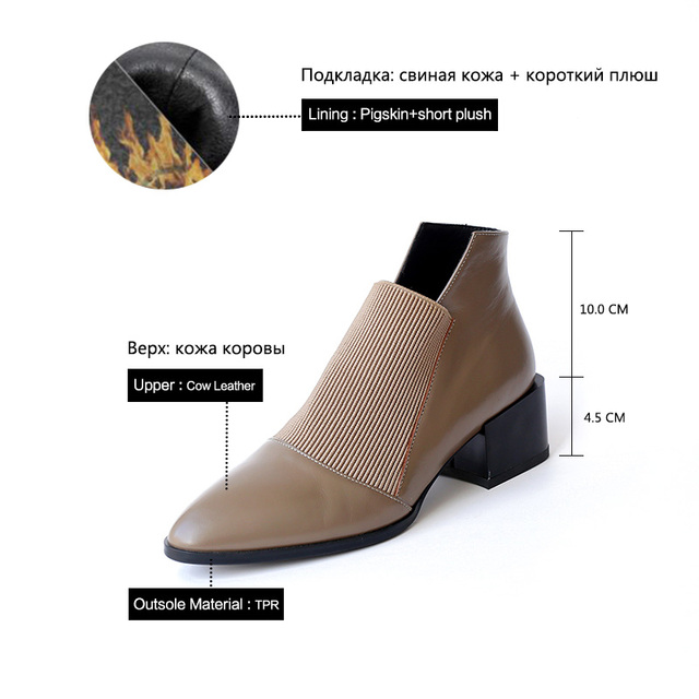 Donna in Thick Med heels Genuine Leather Women Boots Pointed Toe Elastic Autumn Winter Shoes With